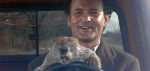 Bill Murray con la marmota que predice el final del invierno
