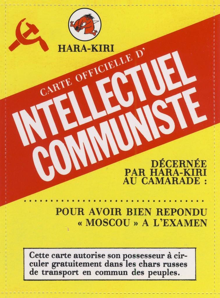 """Tarxeta de intelectual comunista. Seguro que Gérard tiña unha. Fonte: Revista """"Hara Kiri"""""""