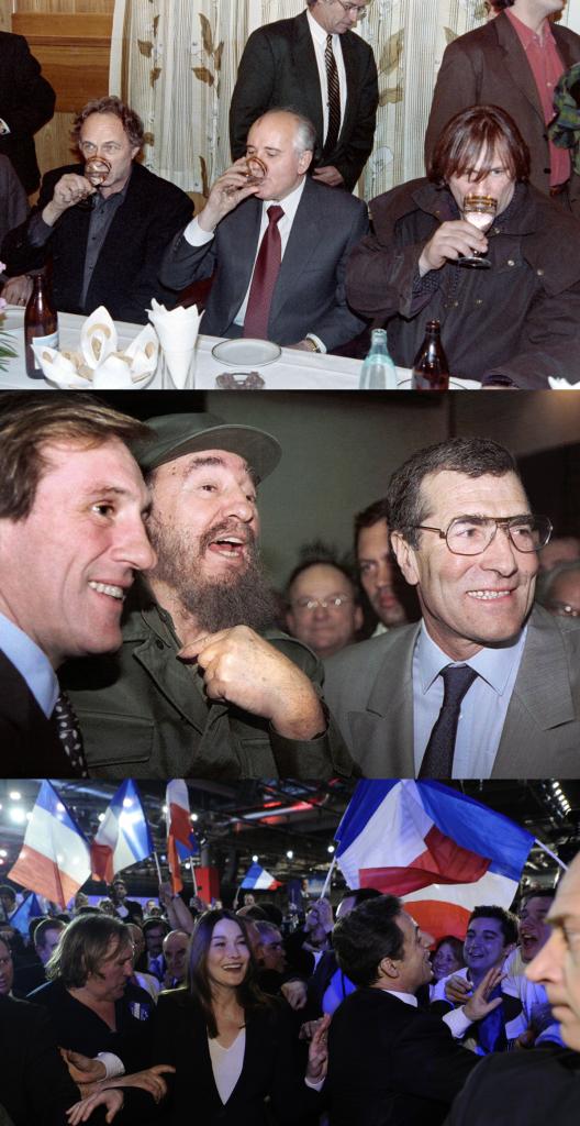 Un breve percorrido polas compañías políticas de M. Depardieu: de Gorbachov e Castro a Carla Bruni.