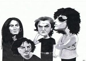 "Caricatura da portada de ""Avalancha"", de Héroes del Silencio, por Theodoros"