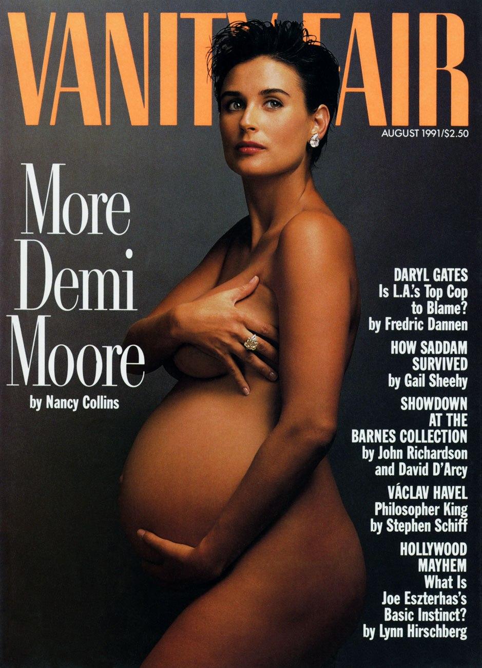 Portada de la revista Vanity Fair donde Demi Moore posa desnuda y embarazada. Quizás su retrato más conocido. © Annie Leibovitz