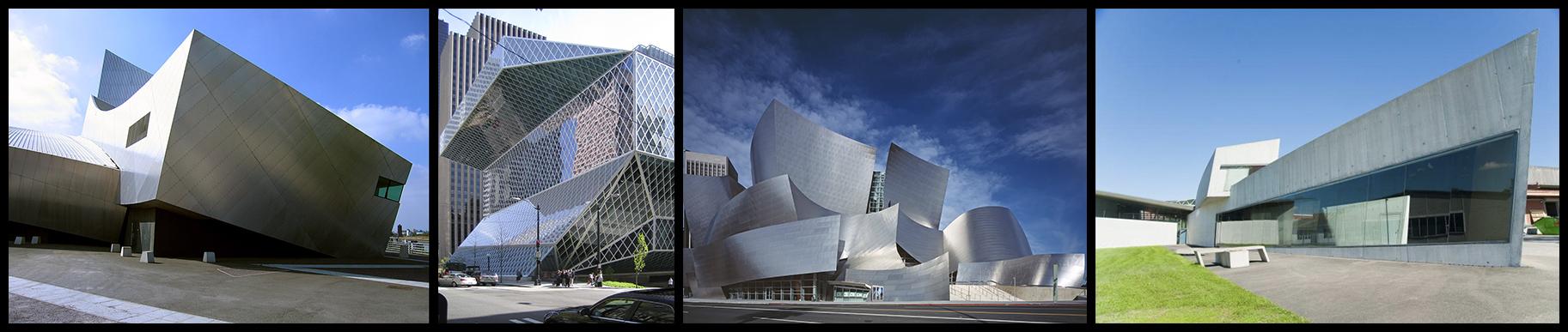 De izqda a dcha: Museo de la Guerra Imperial, Libeskind | Biblioteca Central de Seattle, Koolhaas | Walt Disney Concert Hall, Gehry | Estación de Bomberos Vitra, Zaha Hadid