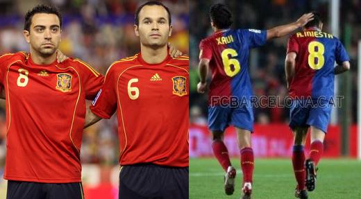 Andrés Iniesta y Xavi Hernández, dos de los máximos exponentes del juego combinativo en la selección española y en el FC Barcelona | Fuente: muycule.com