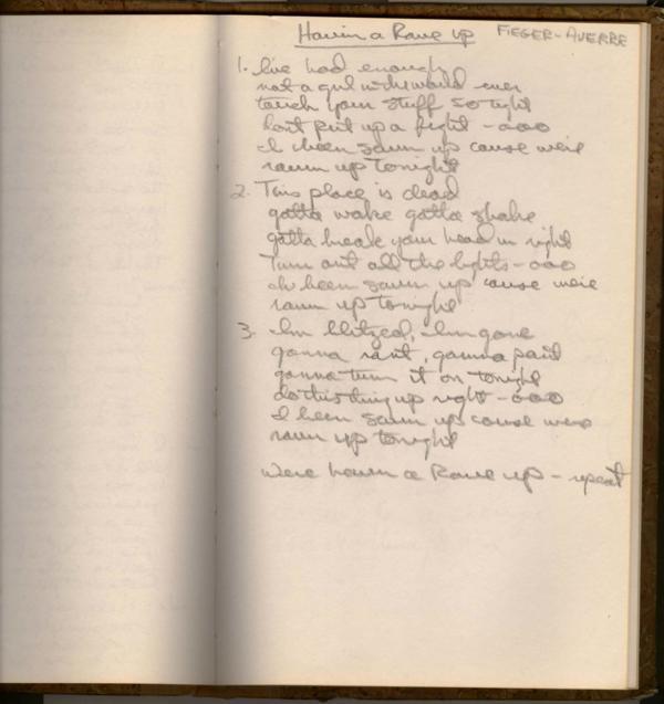 Letra manuscrita de Havin a Rape Up / theknack.com