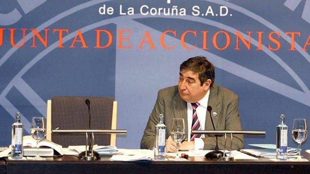 Lendoiro durante una junta de accionistas de Deportivo.