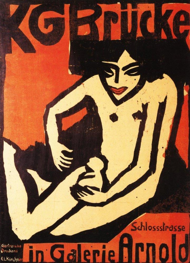 Die Brücke (Kirchner), Cartel de presentación en la Galería Arnold (1910)| http://it.wikipedia.org/