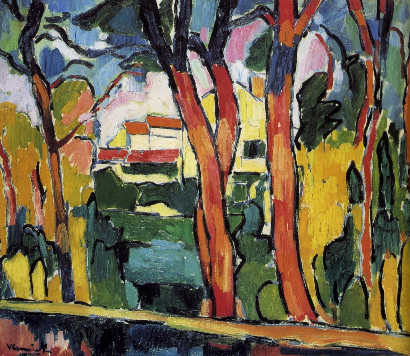 Maurice Vlaminck, Paisaje con árboles rojos (1906) | artesvisualescolegiosantaines.blogspot.com.es/