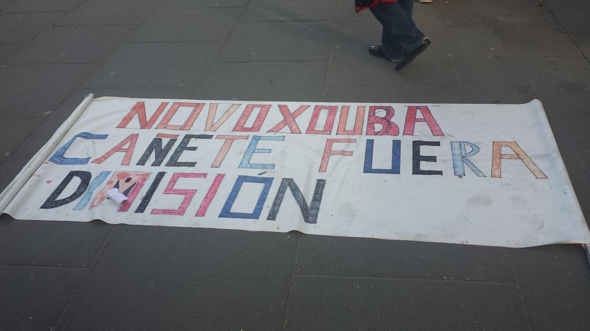 Unha das pancartas alzadas polos manifestantes.