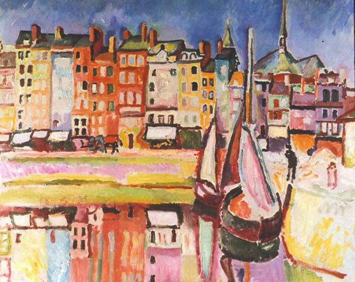 Raoul Dufy, Casas viejas en Honfleur (1906) | http://artesvisualescolegiosantaines.blogspot.com.es/