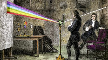 Newton asustando al personal con un prisma. Era un hombre malvado.Fuente: talleresartesplasticas.wordpress.com