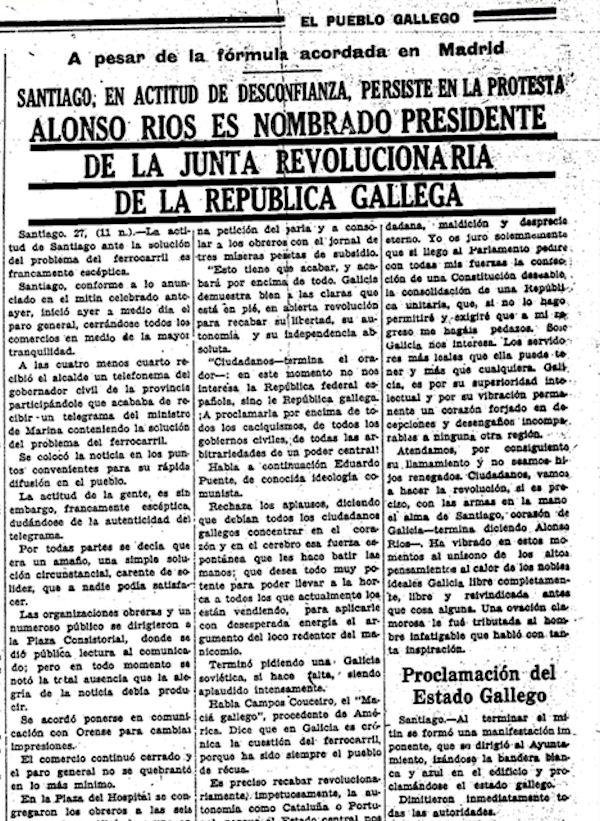 Artigo de portada do xornal 'El Pueblo Gallego' trala proclamación da I República Galega o 27 de xuño de 1931 | terraetempo.com