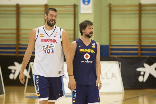 Marc Gasol y Sergio Lull en los entrenamientos. Foto: FEB