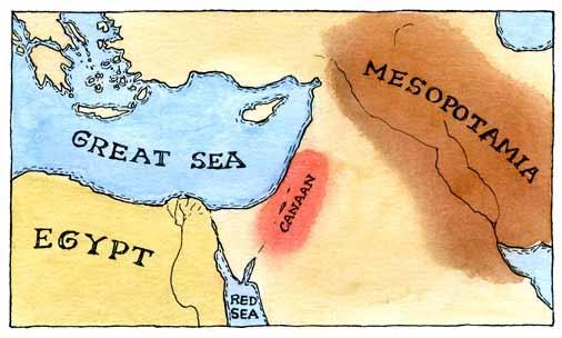 Mapa de la región de Canáan.