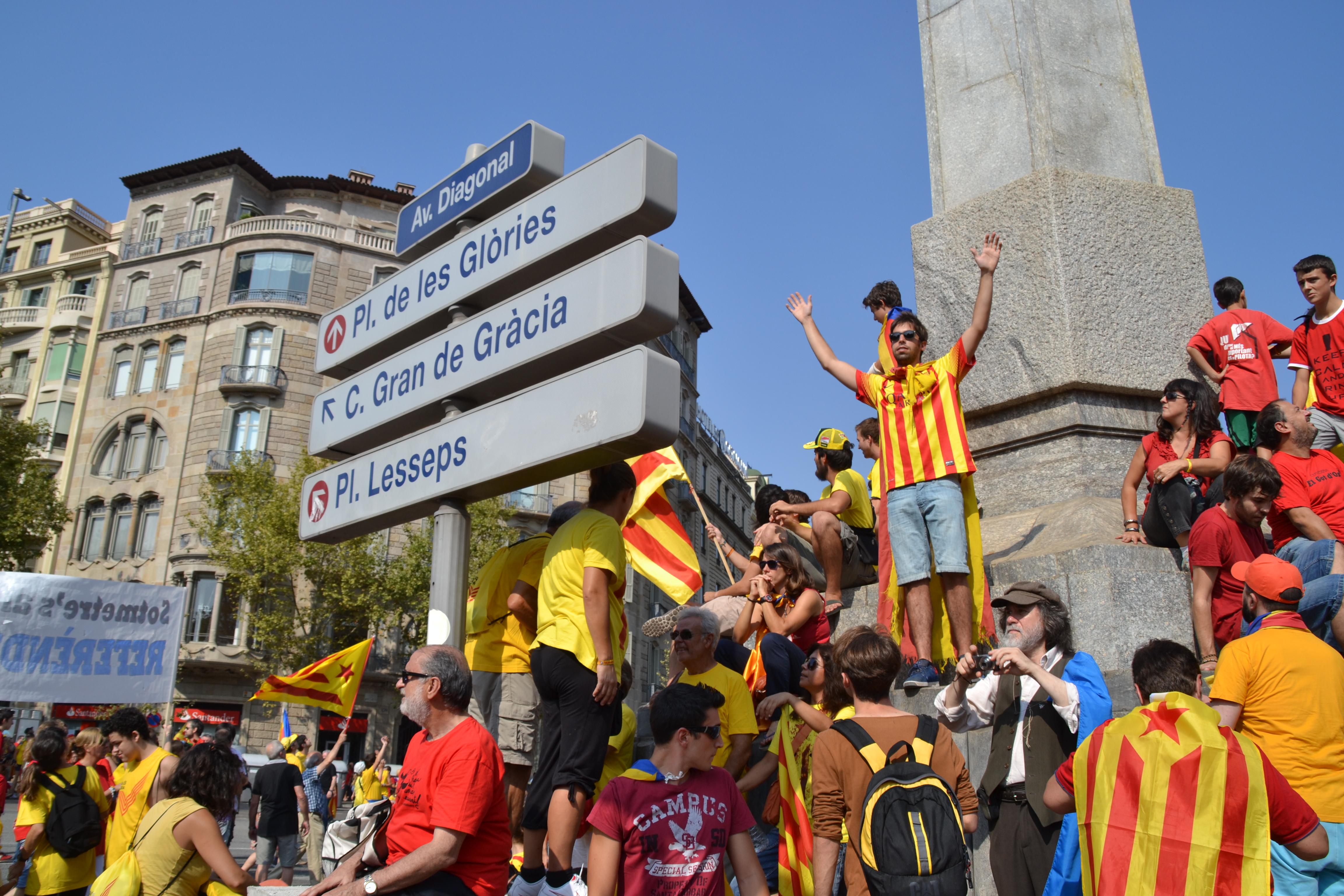 La concentración de personas se dio lugar en la Avenida Diagonal y en la Gran Vía