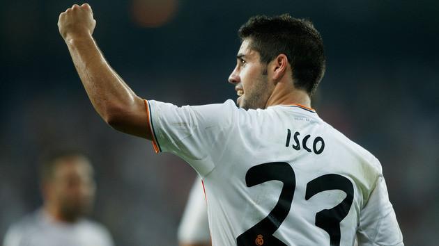 Isco celebra un gol con la camiseta del Real Madrid (Foto: Los Narradores Deportivos).