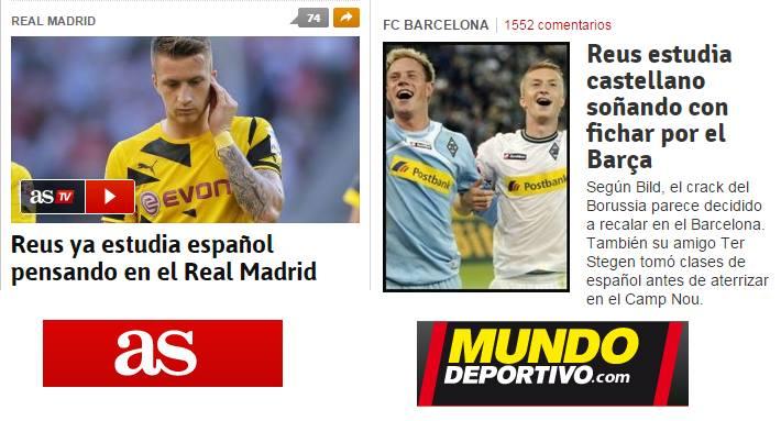 Noticias del día ayer en 'AS' y 'El Mundo Deportivo' elaboradas a partir de la misma información del diario 'Bild' alemán