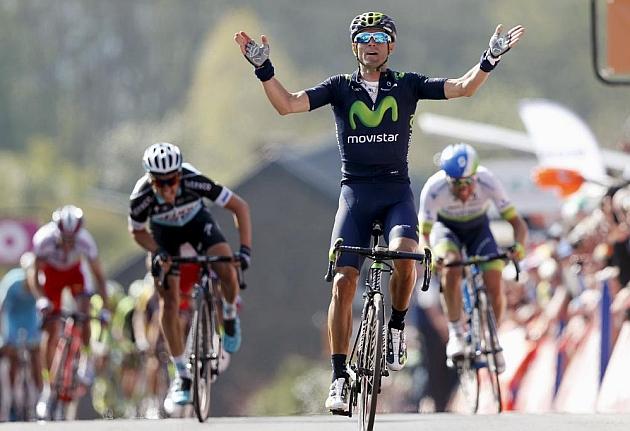 Valverde ganando en el Muro de Huy, sumando su segunda Flecha Valona - ©MARCA