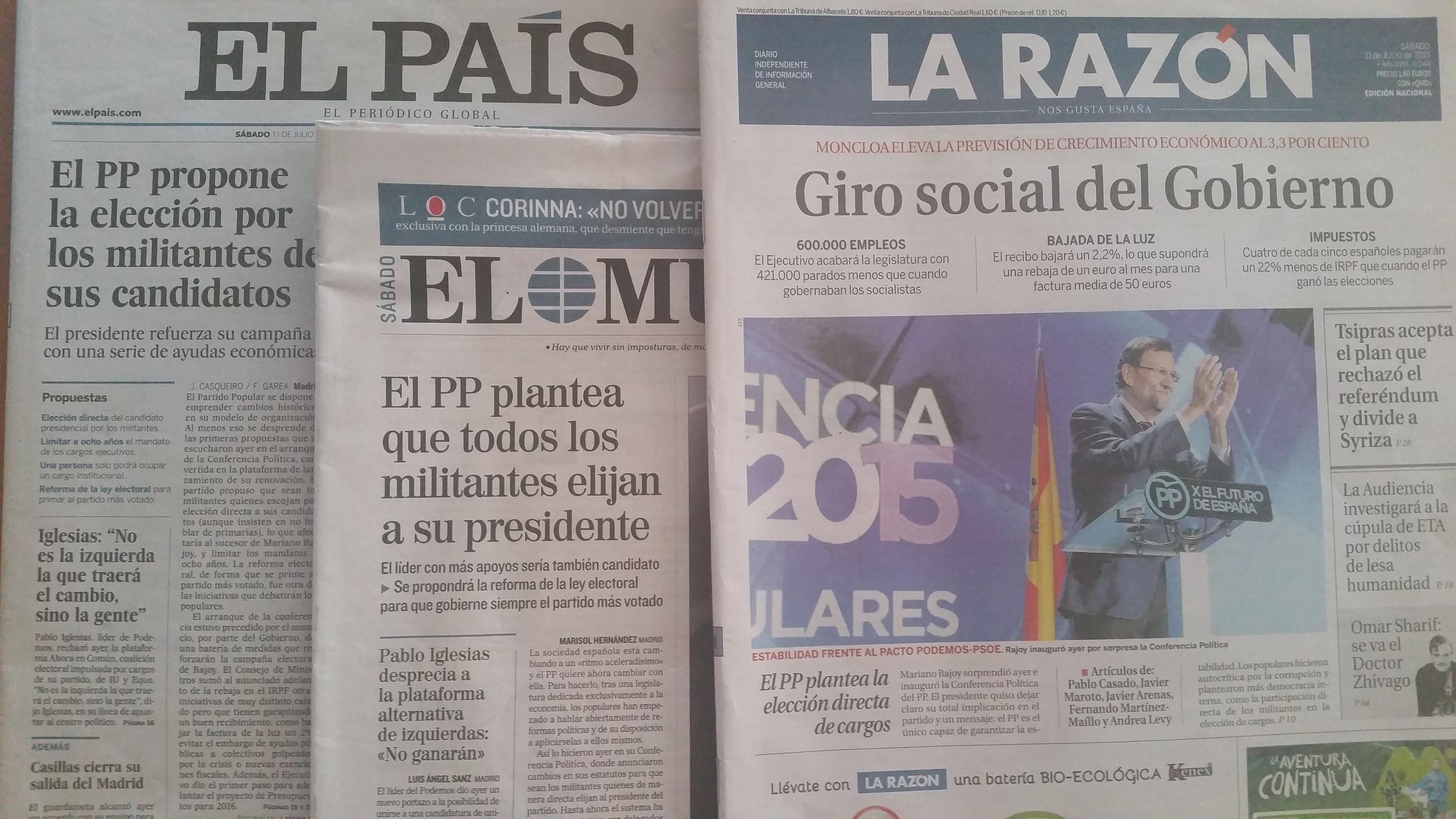 As portadas de tres xornais o sábado 11 de xullo