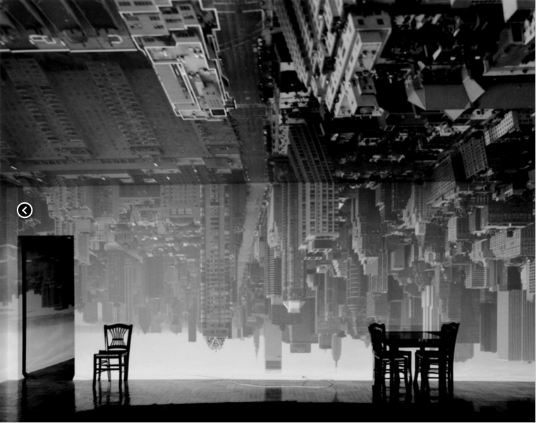 Abelardo Morell, Camera Obscura: Manhattan View Looking South in Large Room (1996) | http://www.abelardomorell.net/