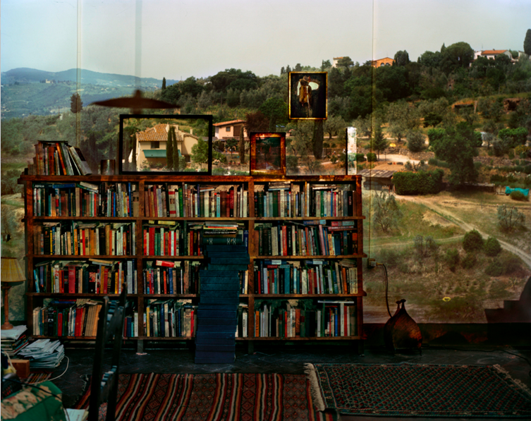 Camera Obscura: View of Landscape Outside Florence in Room With Bookcase. Italy  (2009) | http://www.abelardomorell.net/