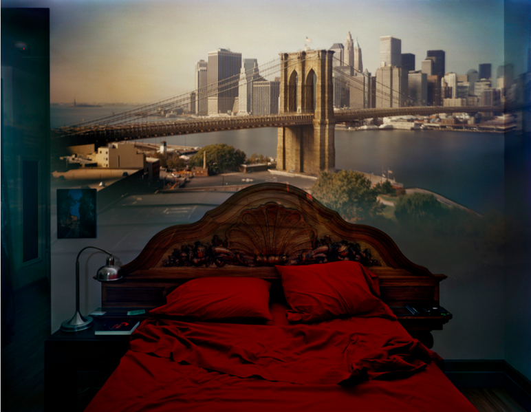 Camera Obscura: View of the Brooklyn Bridge in Bedroom (2009) | http://www.abelardomorell.net