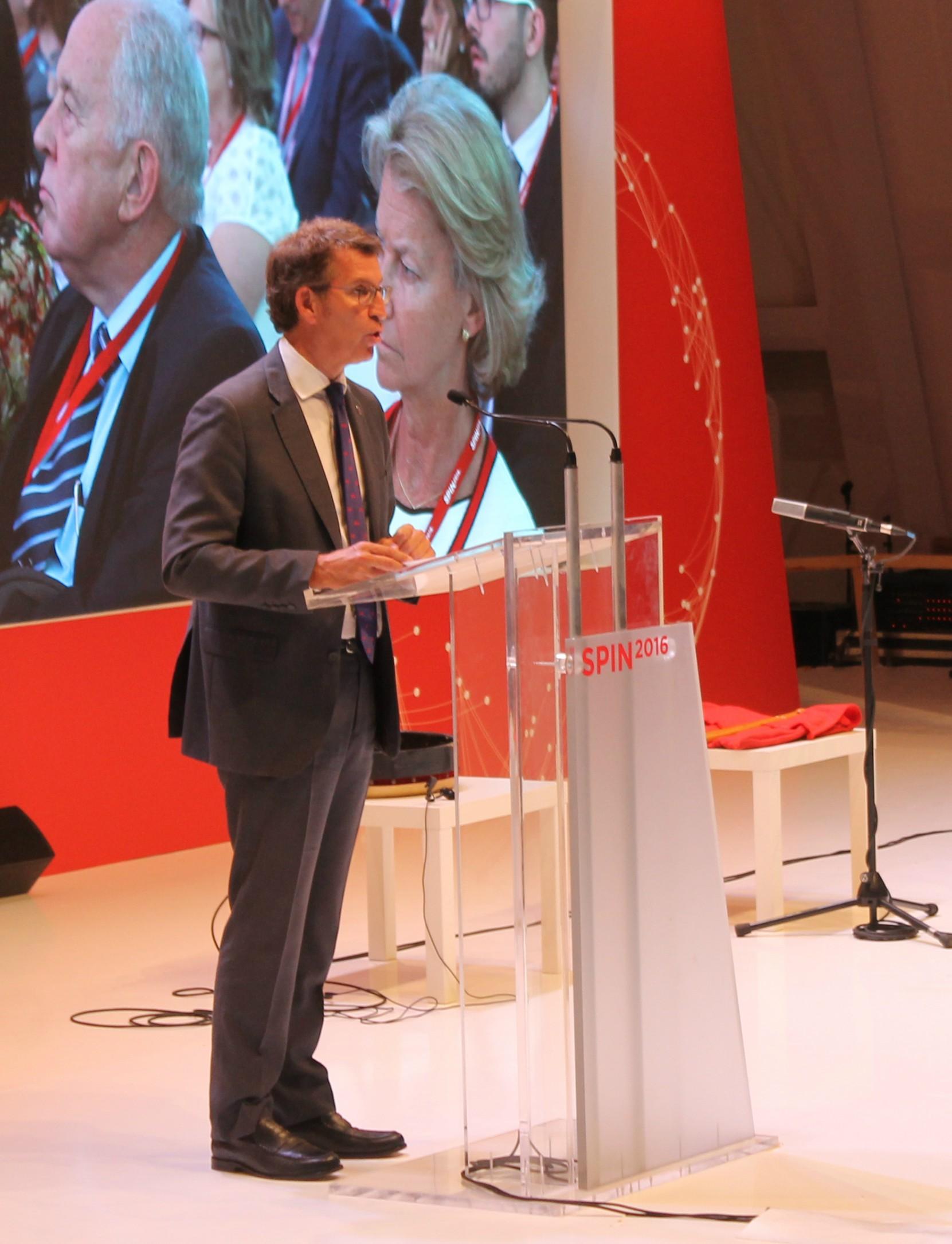 O presidente da Xunta de Galicia, Alberto Núñez Feijóo, durante a súa intervención na inaguración do Spin2016