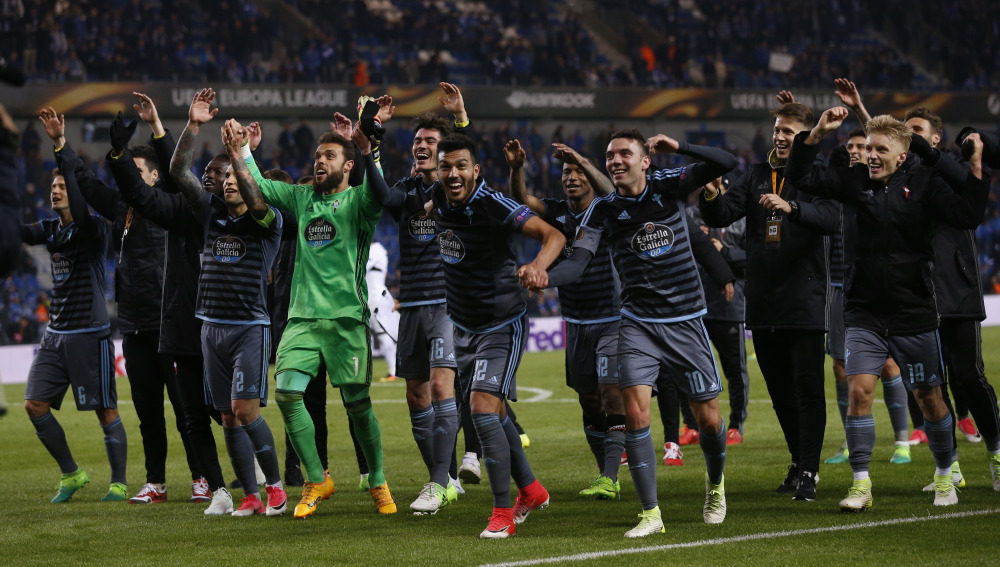 Celta Vigo players celebrate after the match