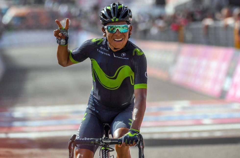 Nairo Quintana celebra su victoria en el Blockhaus - @El País