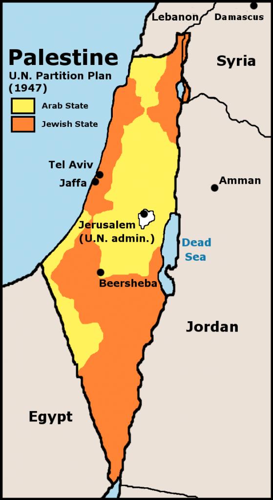 A proposta de partición de 1947. Rexeitada polos líderes árabes