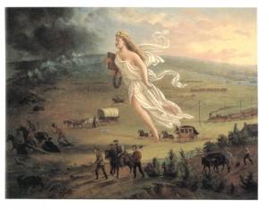 John Gast, American Progress (1872), pintura que simboliza o Destino Manifesto
