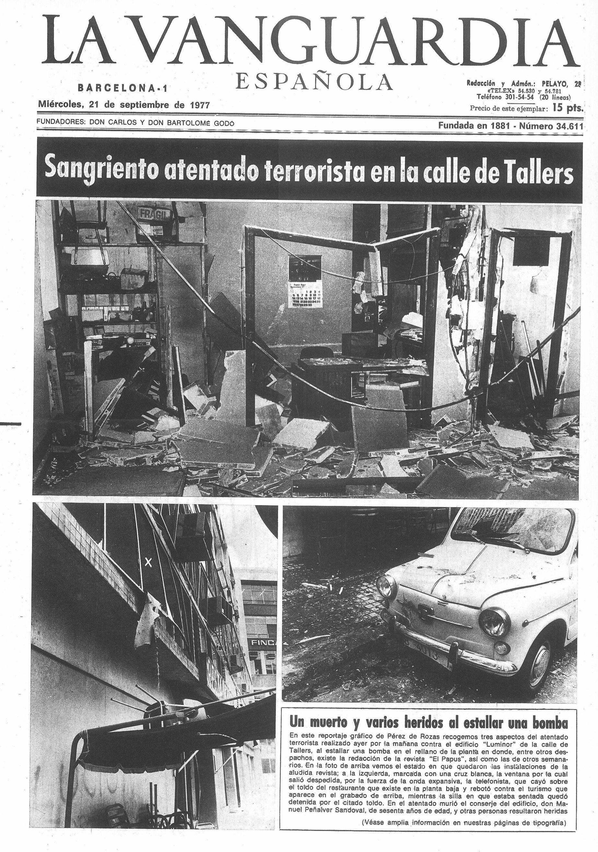 Portada de La Vanguardia el día después del atentado