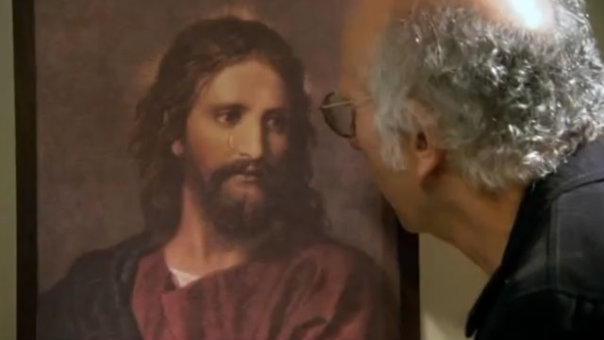 'Curb Your Enthusiasm' Larry David Urinates on Picture of Jesus 1