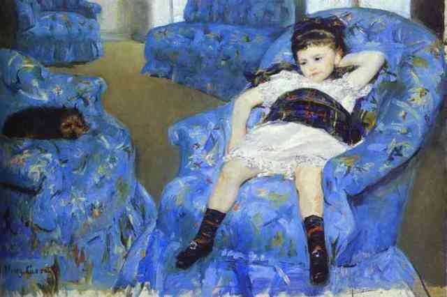 Little girl in a blue armchair | foxpudding.wordpress