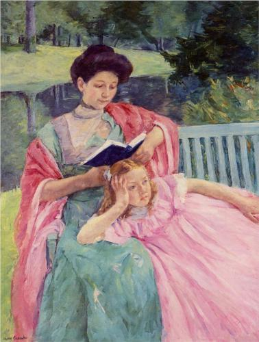 Auguste reading to her daughter | wikipaintings.org