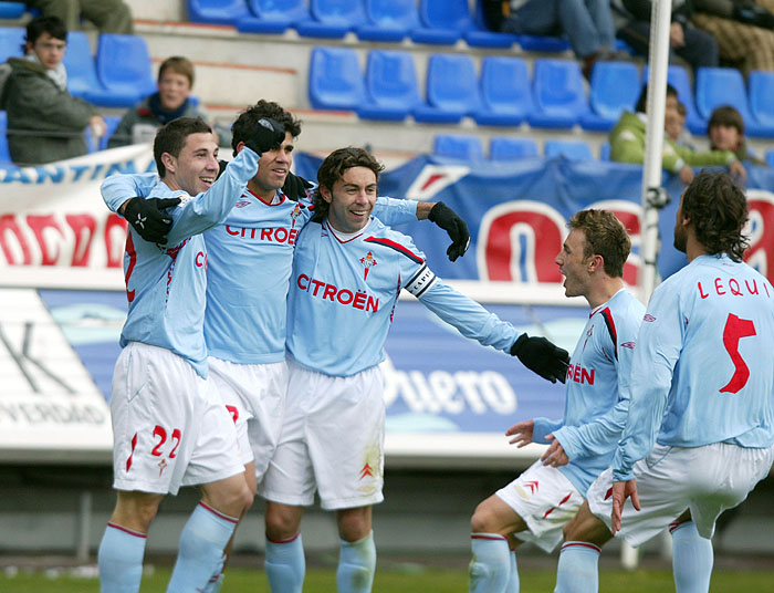 Diego Costa celebra o seu mellor gol coa camiseta do Celta, nos Pajaritos  | ©Faro de Vigo