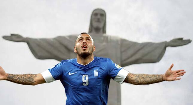 Mitroglou guia a Grecia a Brasil. No hay mejor foto posible / Fuente: @futboldelegeo
