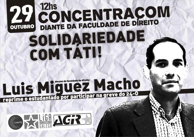 Cartel para la convocatoria de la concentración en apoyo a Tatiana - Facebook Comités Abertos Compostela