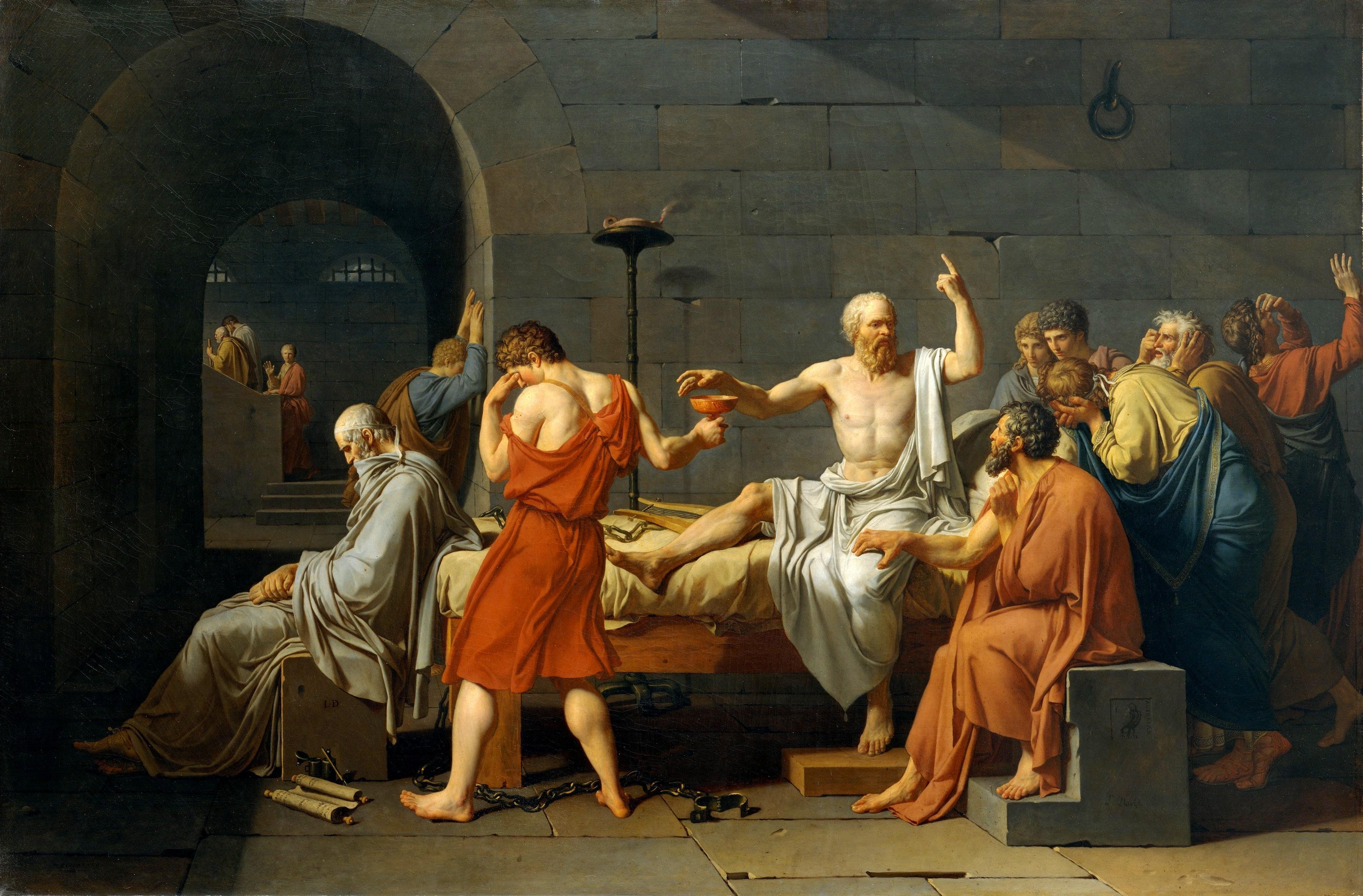 """""""La Mort de Socrate"""" (La muerte de Sócrates) de Jaques-Louis David. Obra que representa la condena a muerte del filósofo posterior a su exposición ante los jueces."""