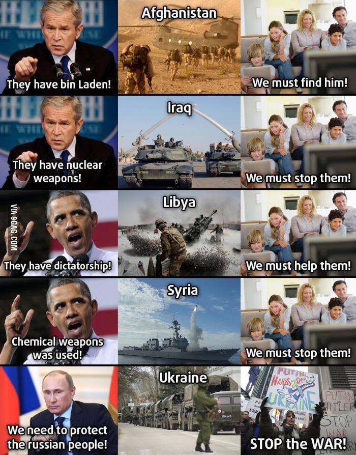 Meme de 9GAG que ridiculiza a doble moral estadounidense.