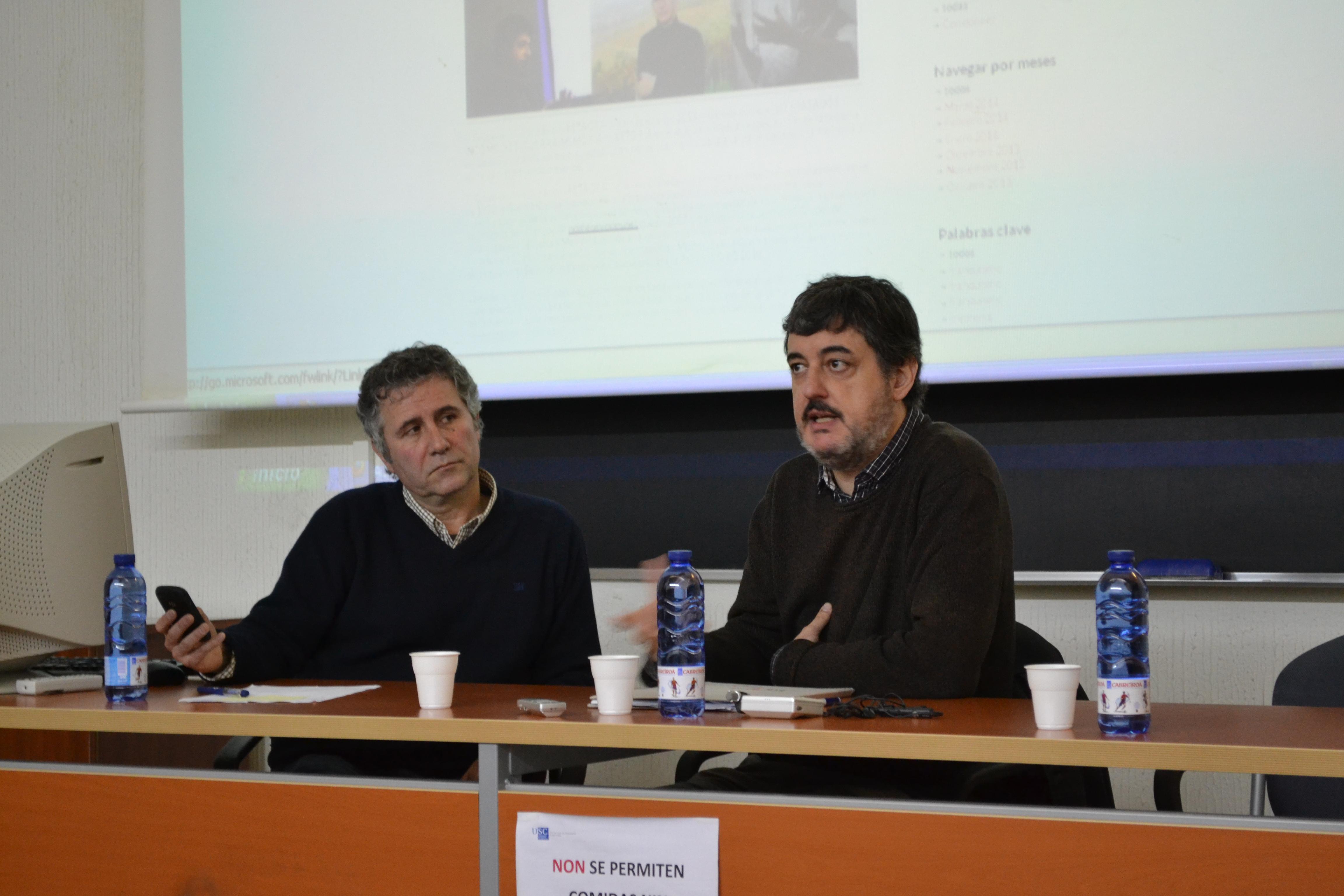 O catedrático Lourenzo Fernández e Miguel-Anxo Murado rememorando a historia de España | ©Andrea Oca
