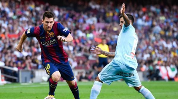Leo Messi durante el partido en el que anotaría su gol número 248 (Jornada 6) | Vía ftbpro.com