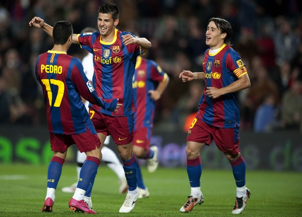 Nolito celebra un gol co primeiro equipo do Barcelona - ©20 Minutos