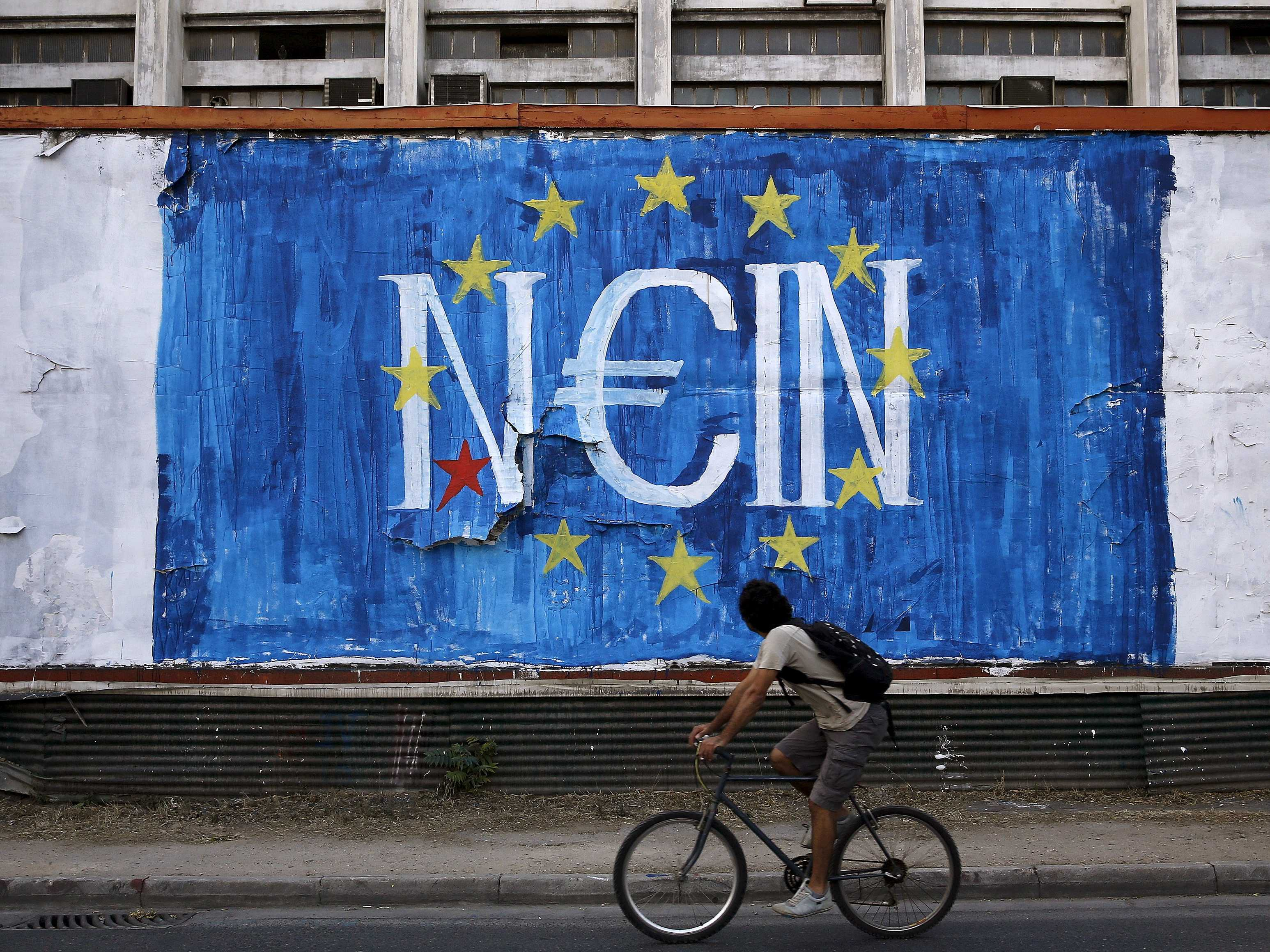 """Pintada en Grecia. Dice tanto """"no"""" en alemán como """"sí"""" en griego. Pronunciado mal y pronto, nain y nai.  ©Alkis Konstantinidis"""