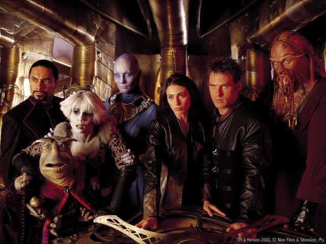 Los protagonistas de Farscape. De izquierda a derecha: Crais, Rygel, Chiana, Zhaan, Crichton y D'Argo