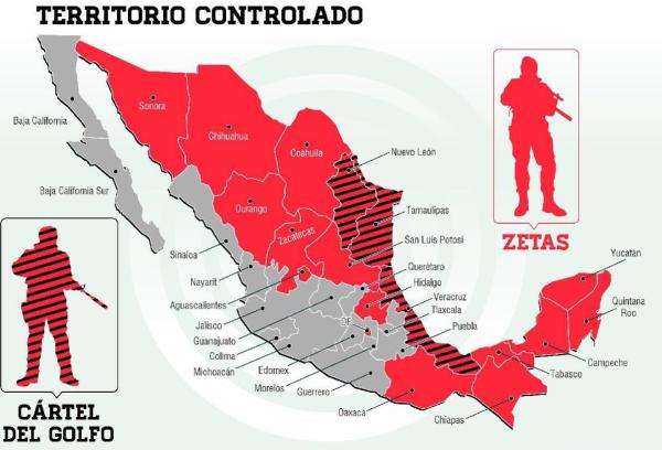 Áreas de México controladas por diferentes organizaciones criminales. Fuente: zoomdigitaltv