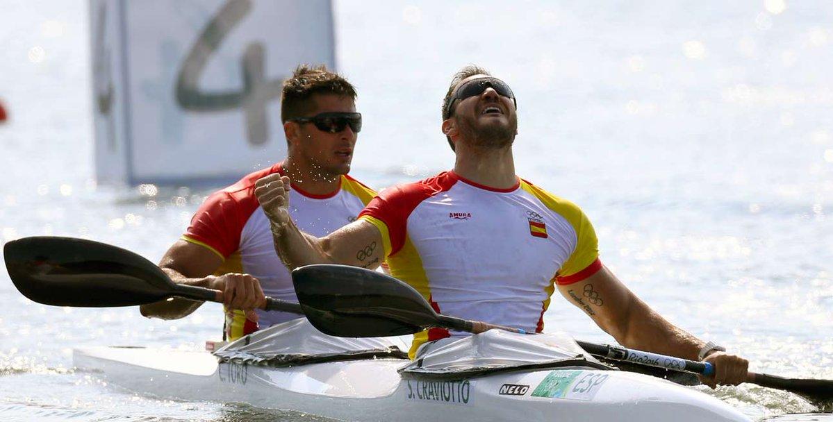 La única medalla con nombre gallego llegó gracias al oro de Cristian Toro, acompañado de Saúl Craviotto | ©COE